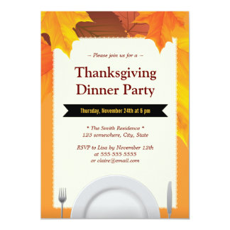 Autumn Leaves Dining Tools Thanksgiving Invitation