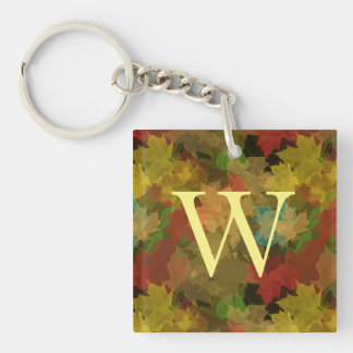 Autumn Leaves Double-Sided Square Acrylic Keychain