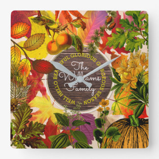 Autumn Leaves Fall Collage Monogram Vintage Wood Square Wall Clock