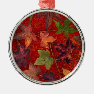 Autumn Leaves Fall Season Tree Leaf Colorful Silver-Colored Round Ornament