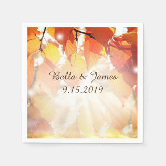 Autumn Leaves Fall  Wedding Collection Napkins Paper Napkins