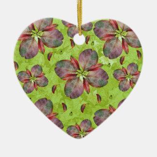 Autumn Leaves Falling Ceramic Heart Ornament