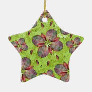 Autumn Leaves Falling Ceramic Star Ornament
