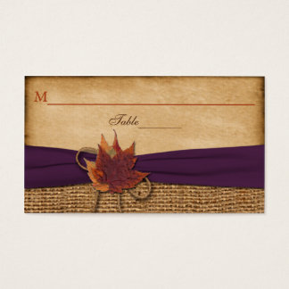 Autumn Leaves FAUX Burlap Place Card