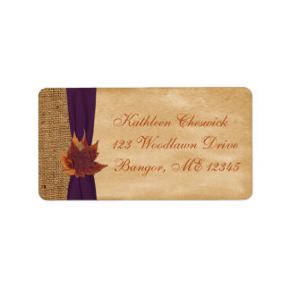 Autumn Leaves, FAUX Burlap Return Address Label 2