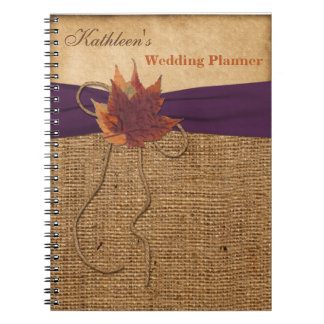 Autumn Leaves FAUX Burlap Wedding Planner Notebook