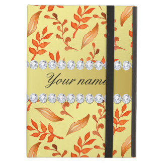 Autumn Leaves Faux Gold Foil Bling Diamonds Cover For iPad Air