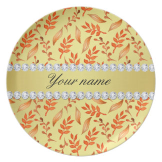 Autumn Leaves Faux Gold Foil Bling Diamonds Dinner Plate