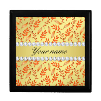 Autumn Leaves Faux Gold Foil Bling Diamonds Gift Box