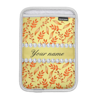 Autumn Leaves Faux Gold Foil Bling Diamonds iPad Mini Sleeve