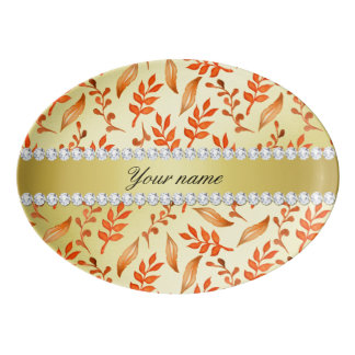 Autumn Leaves Faux Gold Foil Bling Diamonds Porcelain Serving Platter
