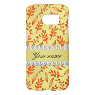 Autumn Leaves Faux Gold Foil Bling Diamonds Samsung Galaxy S7 Case