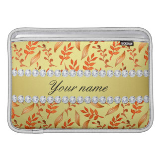 Autumn Leaves Faux Gold Foil Bling Diamonds Sleeve For MacBook Air