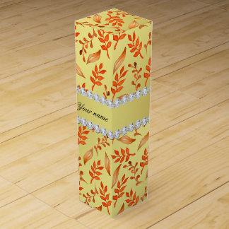 Autumn Leaves Faux Gold Foil Bling Diamonds Wine Boxes