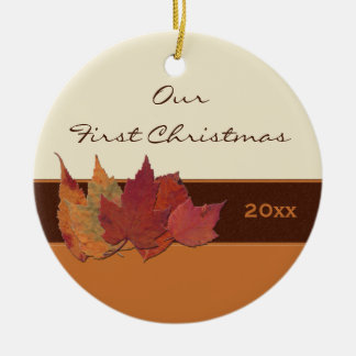 Autumn Leaves First Christmas Keepsake Ornament