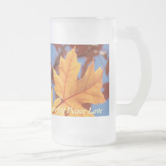 Autumn Leaves Glass Mugs Joy Peace Love