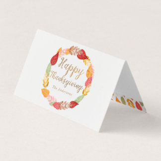 Autumn Leaves Happy Thanksgiving Card