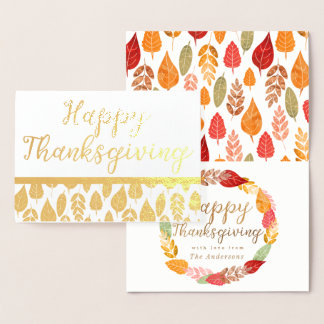 Autumn Leaves Happy Thanksgiving Foil Card