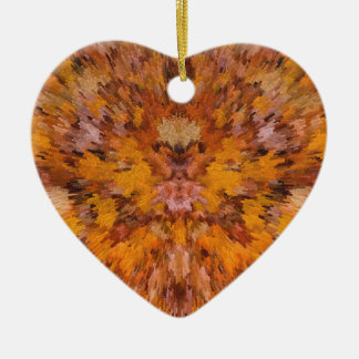 Autumn leaves in abstract ceramic heart ornament
