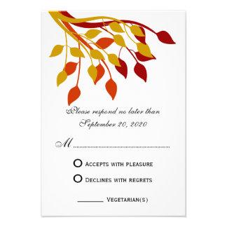 Autumn Leaves in Gold Orange Red RSVP Cards Custom Invite