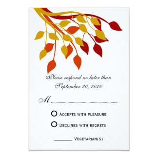 """Autumn Leaves in Gold, Orange, Red RSVP Cards 3.5"""" X 5"""" Invitation Card"""