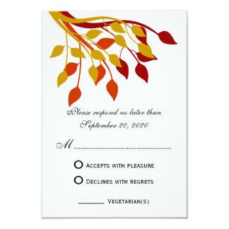 Autumn Leaves in Gold, Orange, Red RSVP Cards Custom Invite