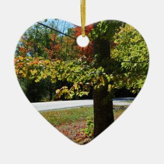 Autumn Leaves in Maine Ceramic Heart Ornament