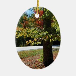 Autumn Leaves in Maine Ceramic Oval Ornament