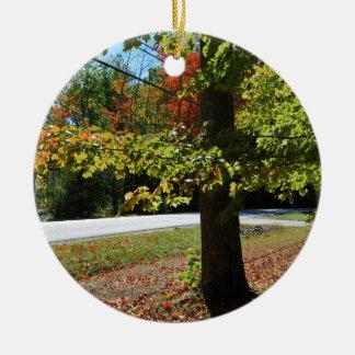 Autumn Leaves in Maine Round Ceramic Ornament