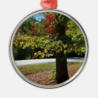 Autumn Leaves in Maine Silver-Colored Round Ornament