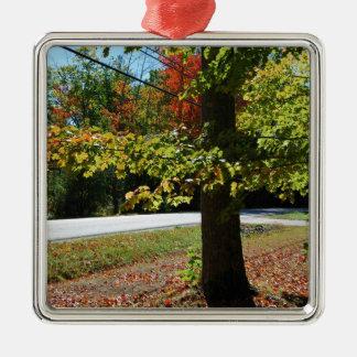 Autumn Leaves in Maine Silver-Colored Square Ornament