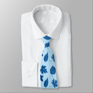 Autumn leaves - indigo and pale blue tie