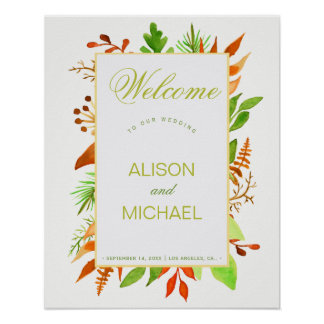 Autumn leaves ivory white welcome wedding sign poster