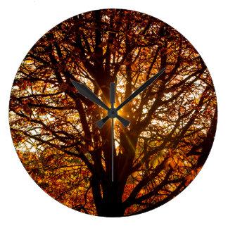 Autumn Leaves Large Clock