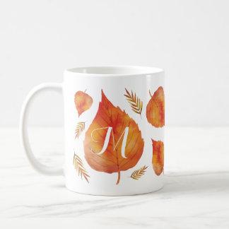 Autumn Leaves Monogram Coffee Mug