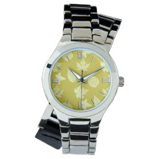 Autumn leaves - mustard and light yellow wristwatch