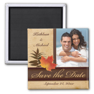 Autumn Leaves on Aged Paper Photo Save the Date Magnet