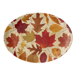 Autumn Leaves on Beige Damask Porcelain Serving Platter