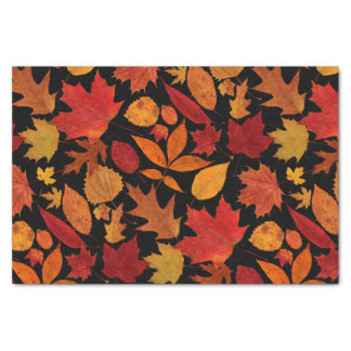 Autumn Leaves on Black Tissue Paper