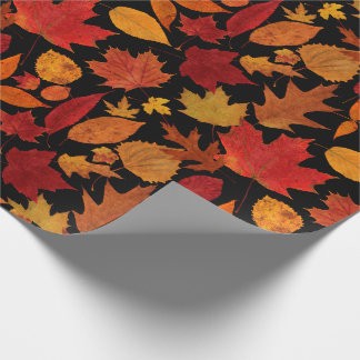 Autumn Leaves on Black Wrapping Paper