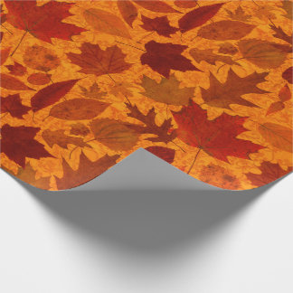 Autumn Leaves Orange Wrapping Paper