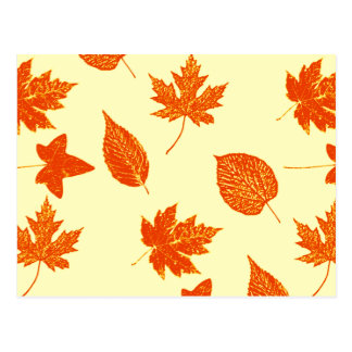 Autumn leaves - pale yellow and orange postcard