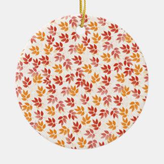Autumn Leaves Pattern Ceramic Ornament