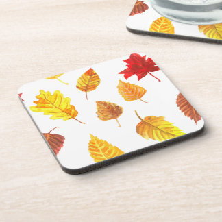 Autumn leaves pattern coaster