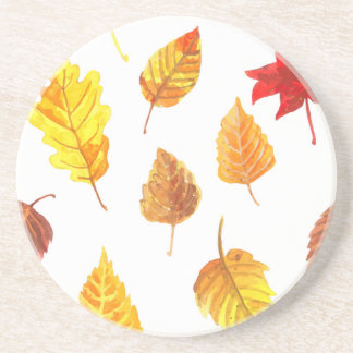 Autumn leaves pattern drink coasters