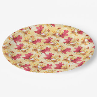 Autumn leaves pattern paper plate