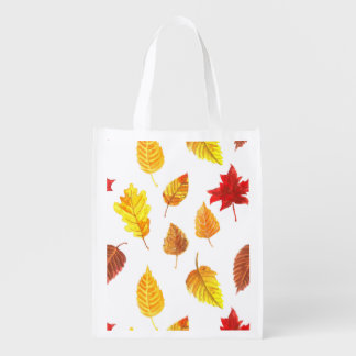 Autumn leaves pattern reusable grocery bags