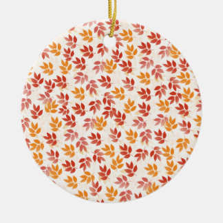 Autumn Leaves Pattern Round Ceramic Ornament