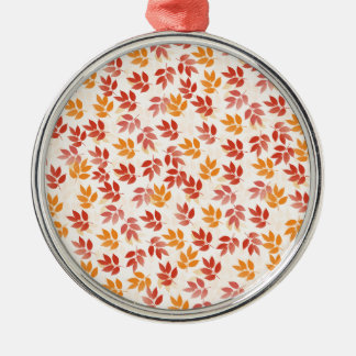 Autumn Leaves Pattern Silver-Colored Round Ornament