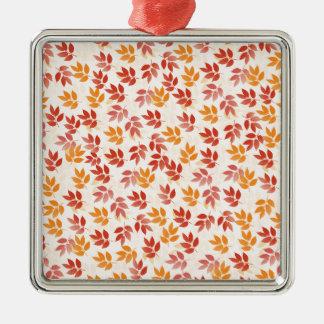 Autumn Leaves Pattern Silver-Colored Square Ornament